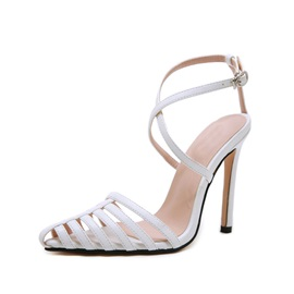 Pointed Toe Stiletto Heel Line-Style Buckle Western Sandals