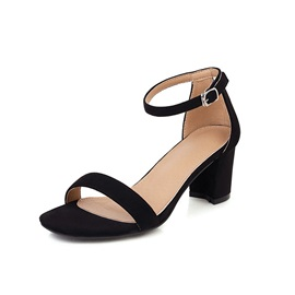 Chunky Heel Line-Style Buckle Heel Covering Thread Sandals