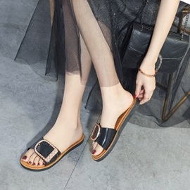 Sequin Flat With Flip Flop Casual Slippers