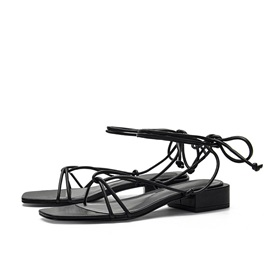 Chunky Heel Square Toe Lace-Up Plain Sandals