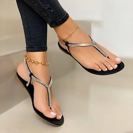 Flat With Thong Slip-On Plain Sandals