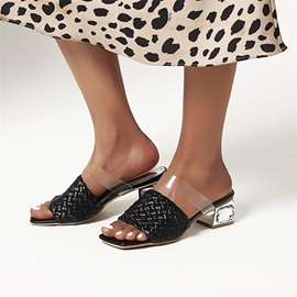 Woven Slip-On Chunky Heel Summer Slippers