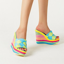 Platform Slip-On Flip Flop Color Block Slippers