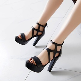 Open Toe Zipper Plain Sandals