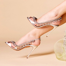 Elastic Band Peep Toe Stiletto Heel Wedding Sandals