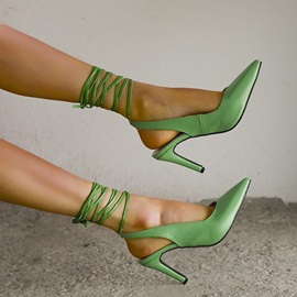 Lace-Up Ankle Strap Stiletto Heel Thread Sandals