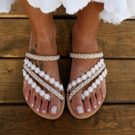 Beads Flat With Thong Floral Slippers