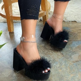 Chunky Heel Feather Slip-On Summer Slippers