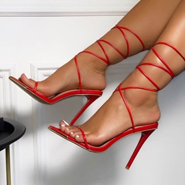 Lace-Up Open Toe Stiletto Heel Professional Sandals