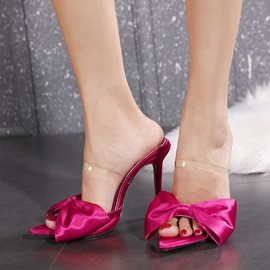 Slip-On Bow Stiletto Heel Plain Slippers