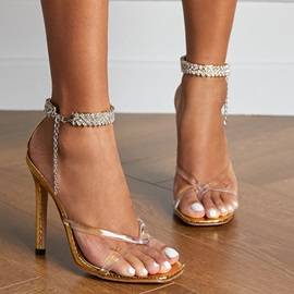 Thong Line-Style Buckle Stiletto Heel Banquet Sandals