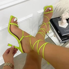 Lace-Up Stiletto Heel Open Toe Professional Sandals