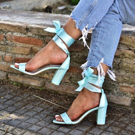 Chunky Heel Lace-Up Open Toe Plain Sandals