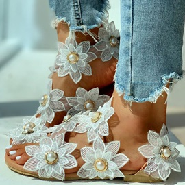 Strappy Peep Toe Slip-On Appliques Sandals