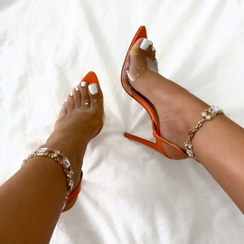 Open Toe Stiletto Heel Line-Style Buckle Rhinestone Sandals