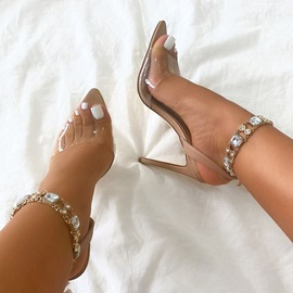 Peep Toe Buckle Stiletto Heel Rhinestone Sandals