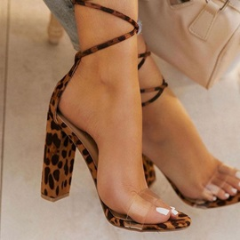 Lace-Up Chunky Heel Open Toe Cross Strap Sandals