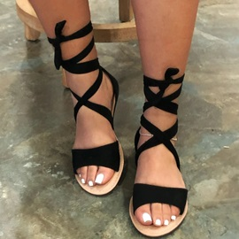 Heel Covering Lace-Up Flat With Plain Sandals