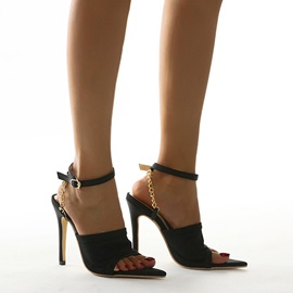 Stiletto Heel Line-Style Buckle Pointed Toe Plain Sandals