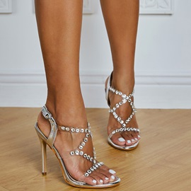 Buckle Stiletto Heel Round Toe Buckle Sandals