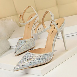 Pointed Toe Ankle Strap Buckle Plain Sandals