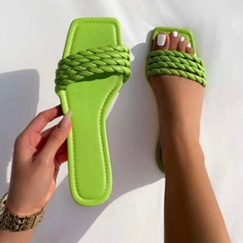 Flat With Slip-On Woven Summer Slippers