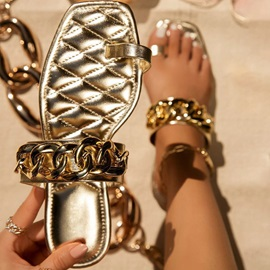 Thread Toe Ring Flat With Summer Slippers