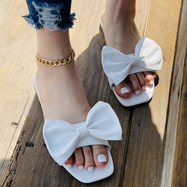 Toe Ring Flat With Bow Western Slippers
