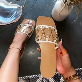 Flat With Sequin Toe Ring Rubber Slippers