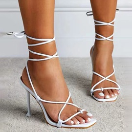 Thong Stiletto Heel Lace-Up Professional Sandals