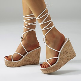 Open Toe Lace-Up Wedge Heel Lace-Up Sandals