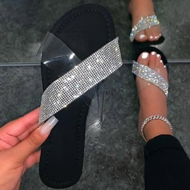 Flat With Flip Flop Rhinestone Casual Slippers