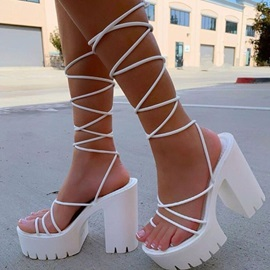 Chunky Heel Toe Ring Lace-Up Plain Sandals