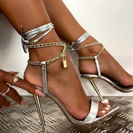 Stiletto Heel Pointed Toe Lace-Up Plain Sandals