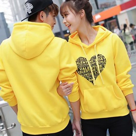 Casual Polyester Heart Printed Couple Hoodies (Price for A Pair)