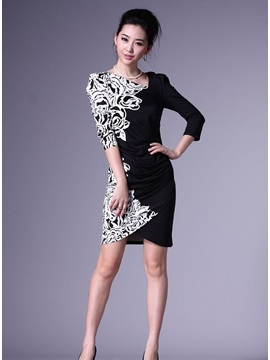 New Style Casual Floral Imprint Sheath Dress
