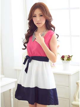 Luxurious Split Joint Sleeveless Chiffon Summer Fresh Dress