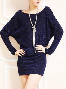 Hot Selling Delicate Slim Long Sleeves Large Size Bat Sheath Dress