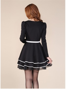 OL Style Bow Knot Puff Long Sleeves Bubble Sweet Dress
