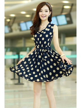 Lovely Polka Dots Print Slim Sleeveless Chiffon Dress