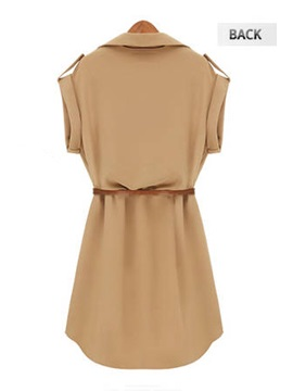Slim Khaki Color Polo Cap Sleeve Short Day Dress With Belt