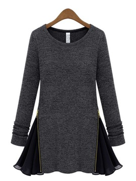 Gray Patchwork Color Block Long Sleeve Wool Dress
