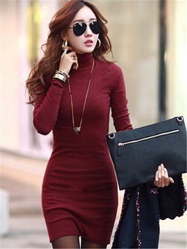 Casual Solid Color Turtle Neck Dress