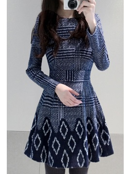 Geometric Print Long Sleeve Casual Dress
