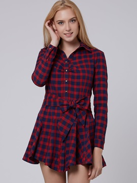 Red Plaid Single-Breasted Long Sleeve Casual Dress
