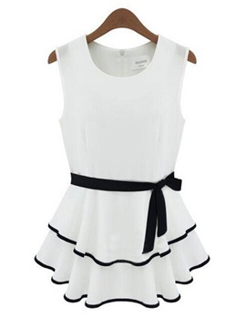Nice White Black Joint Sleeveless Dress