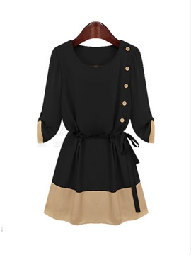 Color Block Half Sleeve Lace Up Day Dress