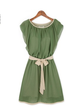Solid Color Belt Decorated Sleeveless Dress