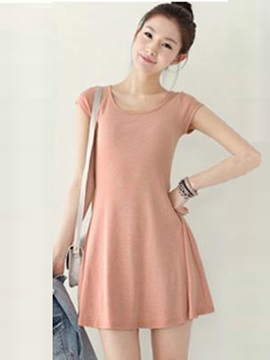 Pure Color Short Sleeves Day Dress