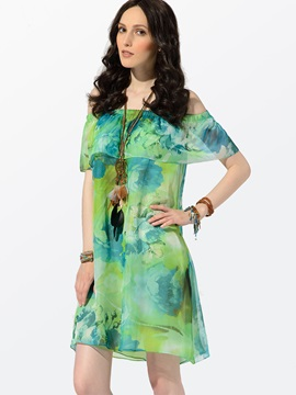 Clocolor® High Quality Chiffon Print Bohemian Dress